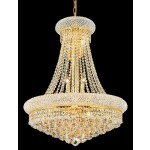 14 Lights Crystal chandelier dress with crystal ball in gold finish