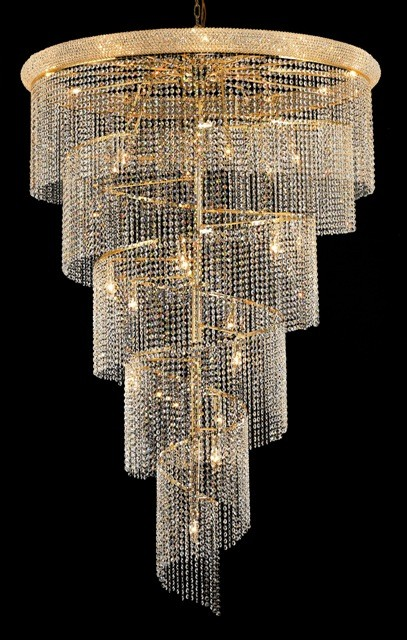 29 Light Spiral Crystal Chandelier gold plated - Chandeliers